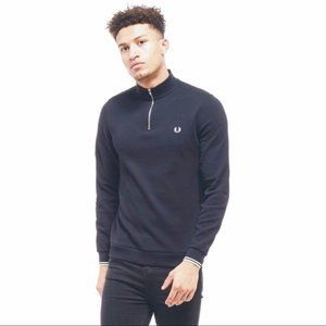 Fred Perry 1/4 zip dark navy sweater size medium